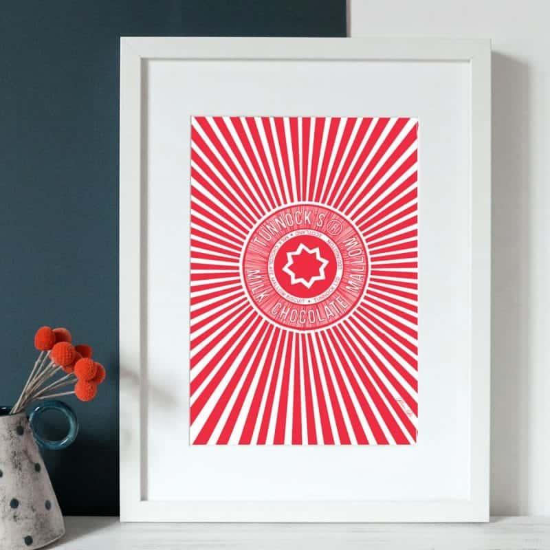 Tunnock' teacake wrapper art print by Gillian Kyle