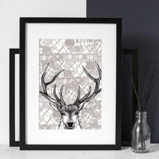 Gillian Kyle Scottish Art and Canvas prints Gallery, Tartan Animals Collection, Tartan Stag Print with Scottish stag deer