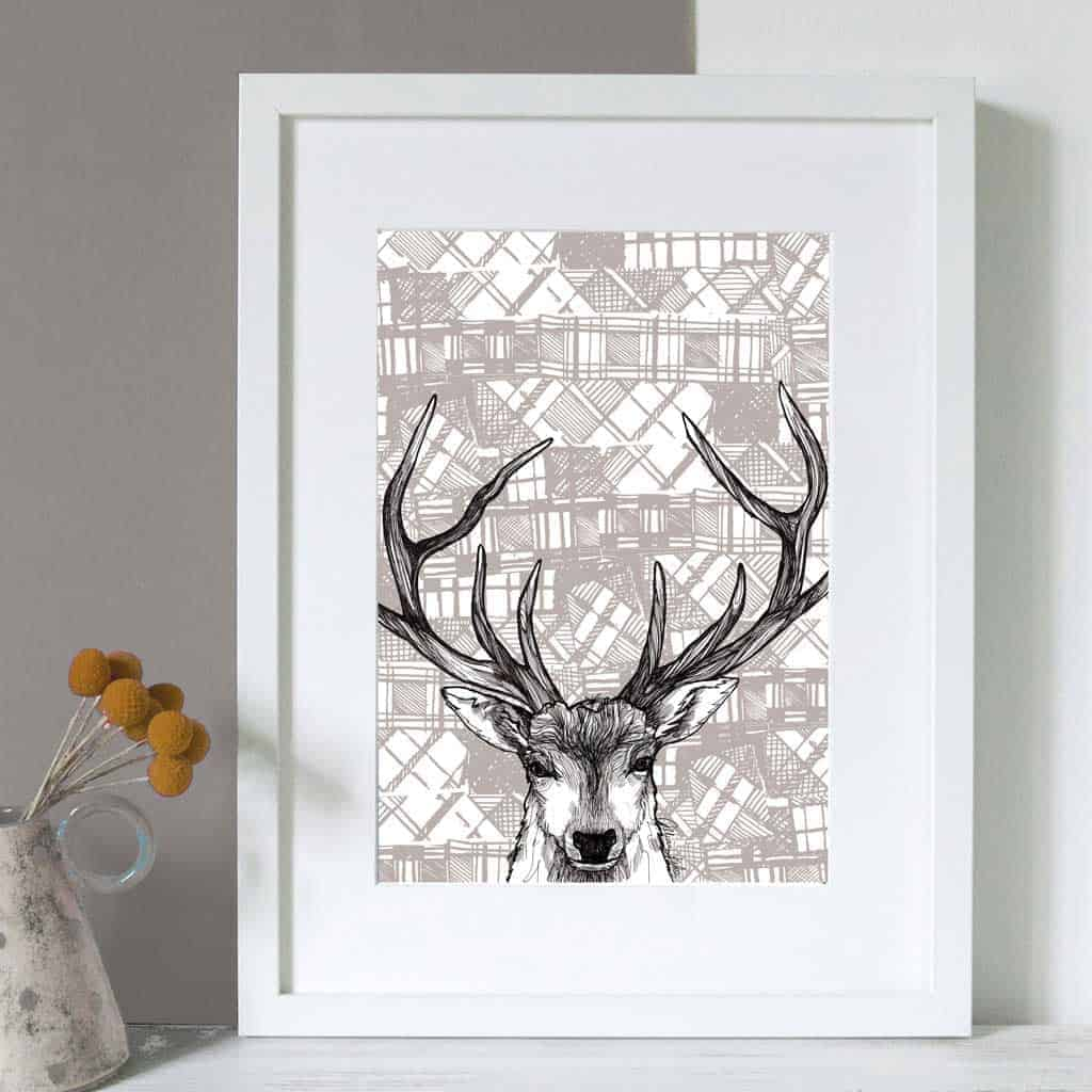gillian kyle scottish wall art tartan stag canvas print. Black Bedroom Furniture Sets. Home Design Ideas