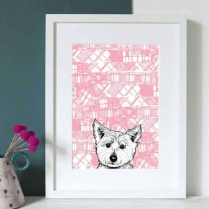 Gillian Kyle Scottish Art and Canvas prints Gallery, Tartan Animals Collection, Tartan Westie print with Scottish West Highland Terrier