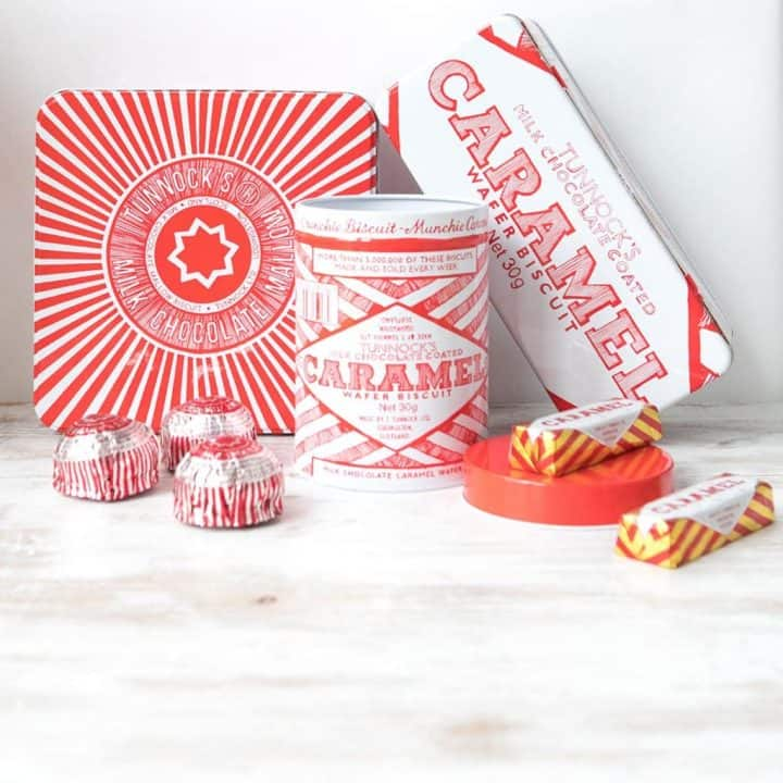 Retro Tunnock's design biscuit and cake kitchen storage tins by Gillian Kyle