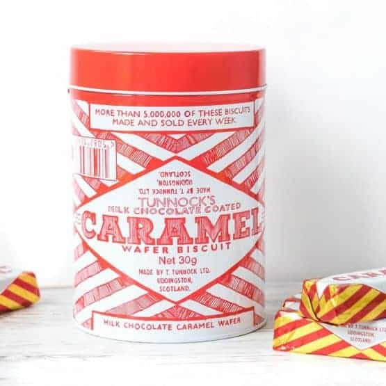 Retro Tunnock's Caramel Wafer design caddy biscuit tin by Gillian Kyle