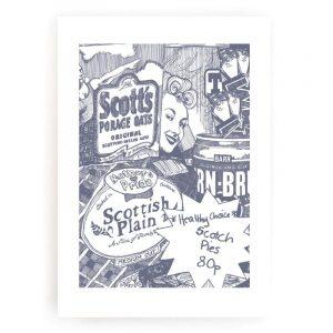 illustrative print featuring iron-bru, porridge and scotch pie by Gillian Kyle