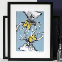 Reflecting Stags framed print by Gillian Kyle