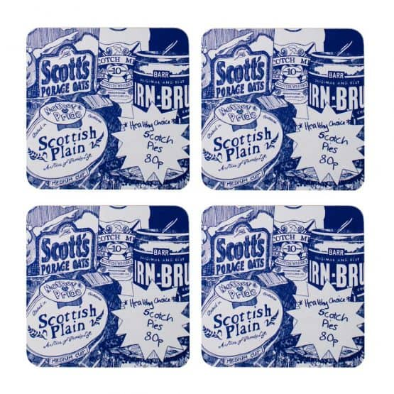 Scottish Breakfast design Scottish food drinks coasters featuring Irn-Bru, whisky and porridge by Gillian Kyle
