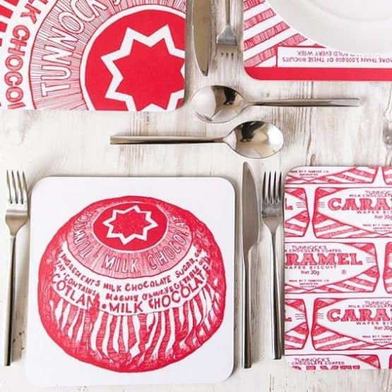 Gillian Kyle, Tunnock's Biscuits Caramel Wafer and Teacake Scottish placemats, set of 4, Tunnock's