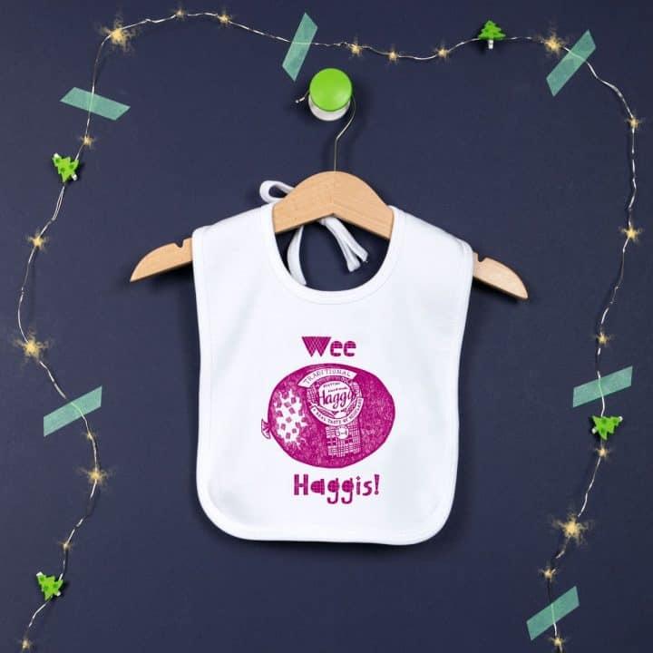 Gillian Kyle, Scottish baby clothing, Scottish baby gifts, Scottish baby bib, organic cotton, haggis print