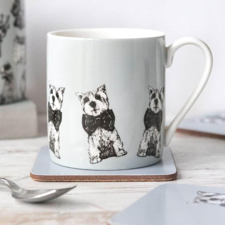 Gillian Kyle china mug in Archie West Highland terrier design
