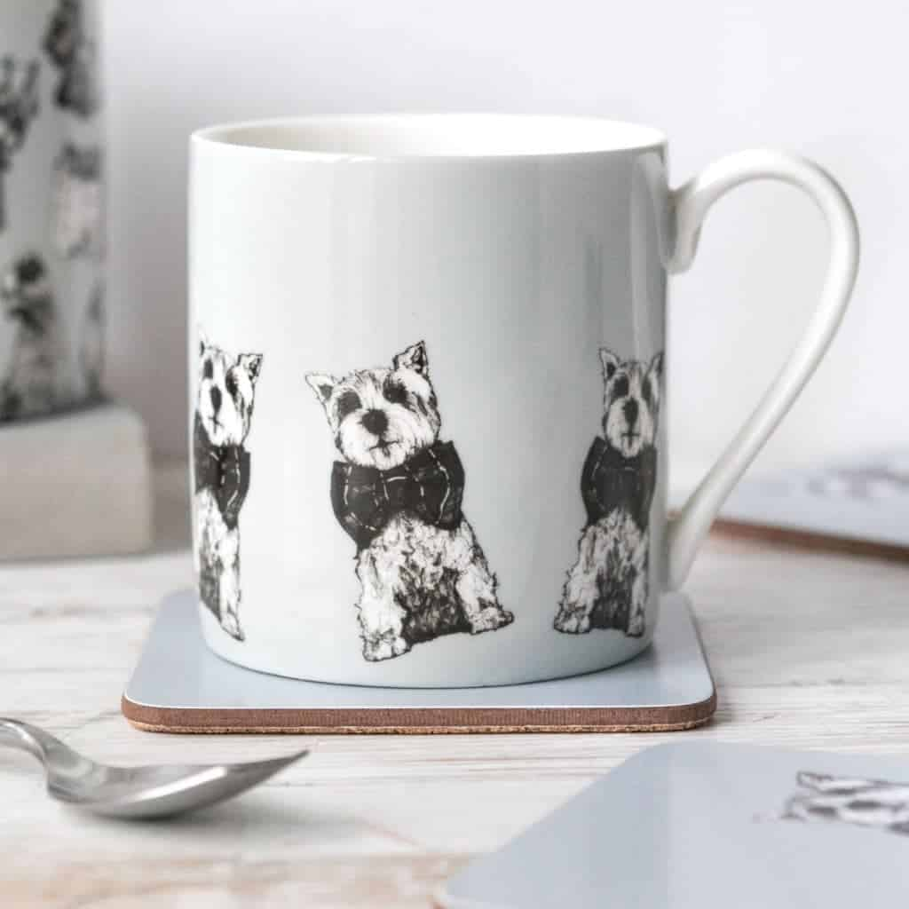 Gillian Kyle china mug in Archie West Highland terrier design