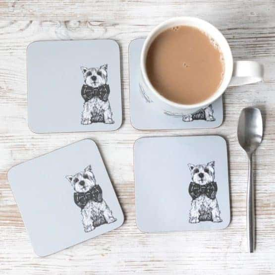 Gillian Kyle, Archie West Highland Terrier Scottish coasters, Set of 4, Scottie Dog
