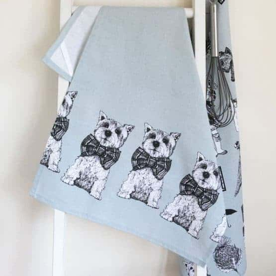 Gillian Kyle, Scottish breakfast textiles, Scottish tea-towel, Highland Terrier print
