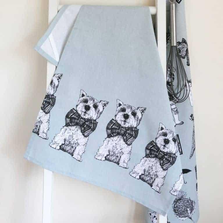 Gillian Kyle, Scottish breakfast textiles, Scottish tea-towel, Highland Terrier print