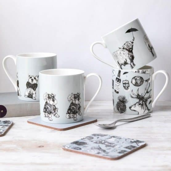 China mugs in Scottish designs by Gillian Kyle