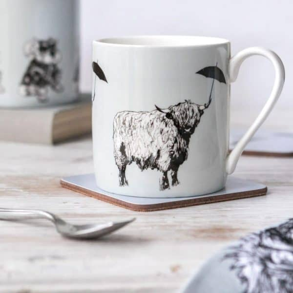 Dougal Highland Cow design china mug by Gillian Kyle