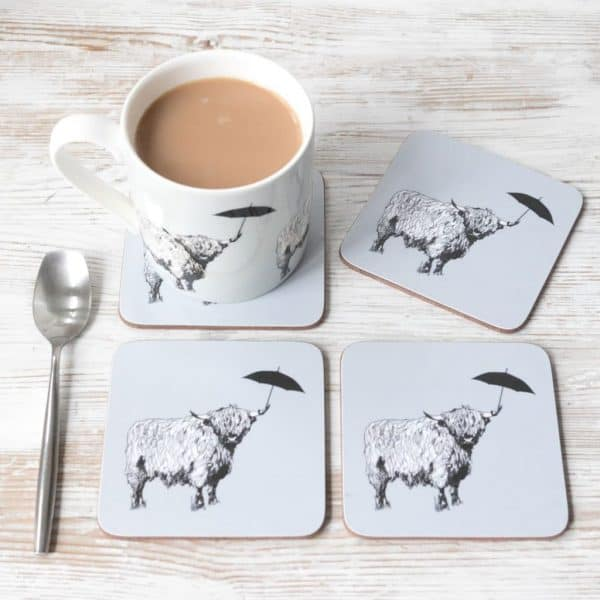 Gillian Kyle, Love Scotland, Dougal Highland Coo, Set Of 4 Coasters, Highland Cow