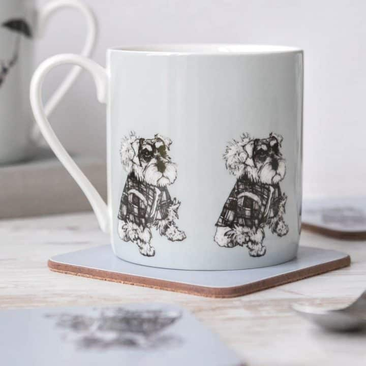Hamish Schnauzer china mug by Gillian Kyle