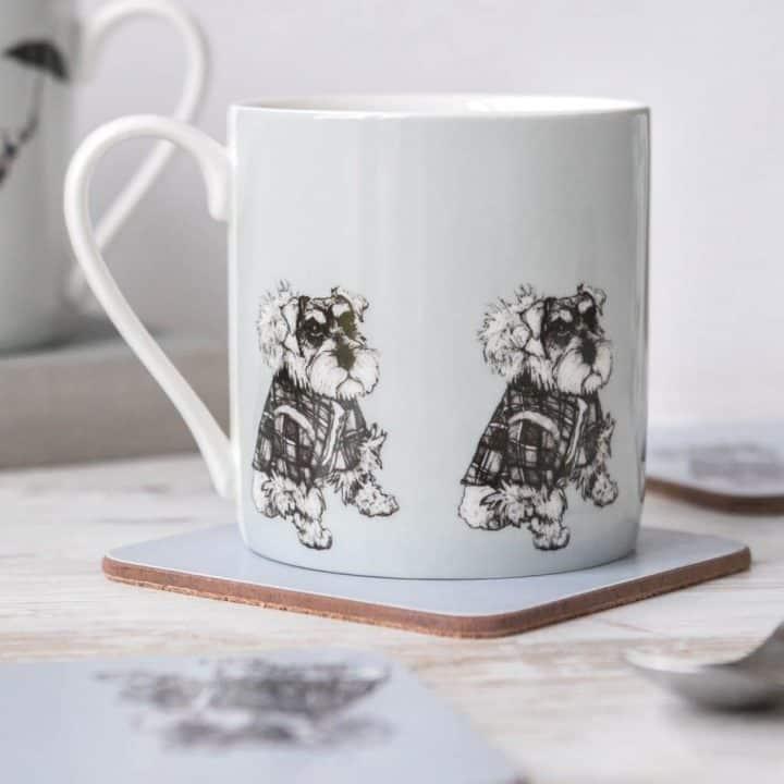 Hamish Schnauzer china mug by Gillian Kyle