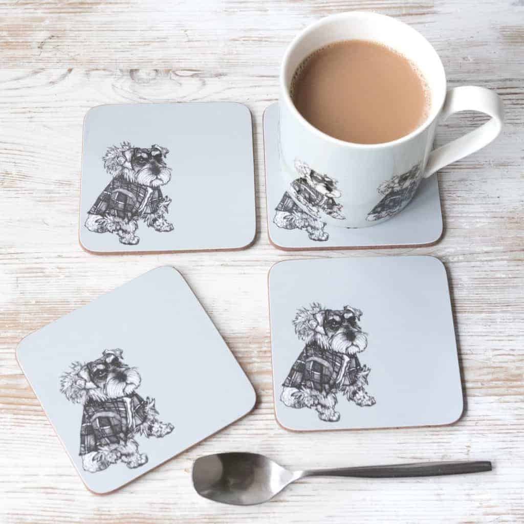 Gillian Kyle, Hamish Schnauzer china mug and set of 4 coasters