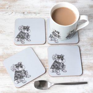 Hamish Schnauzer china mug and coasters by Gillian Kyle
