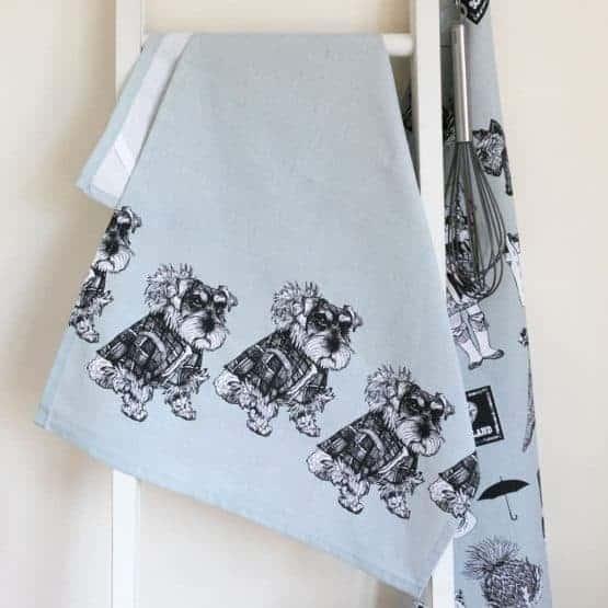 Gillian Kyle, Scottish breakfast textiles, Scottish tea-towel, Hamish Schnauzer print