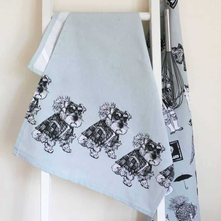Gillian Kyle, Scottish breakfast textiles, Scottish tea-towel, Hamish Schnauzer print