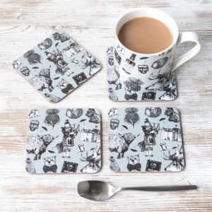 Love Scotland china mug and melamine coasters by Gillian Kyle