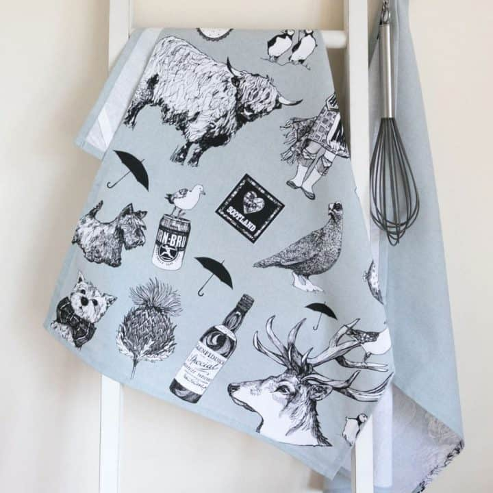 Gillian, Kyle, Scottish breakfast textiles, Scottish tea-towel, love Scotland, irn bru, highland cow, puffin, thistle, westie print