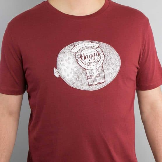 Gillian Kyle, Scottish Men's clothing, Scottish Men's T-shirt, Scottish unisex t-shirt, Scottish unisex clothing, Burgundy Haggis T-Shirt,