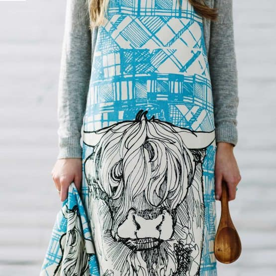 GillIan Kyle, Scottish Breakfast textiles, Scottish apron, tartan animals, highland cow print