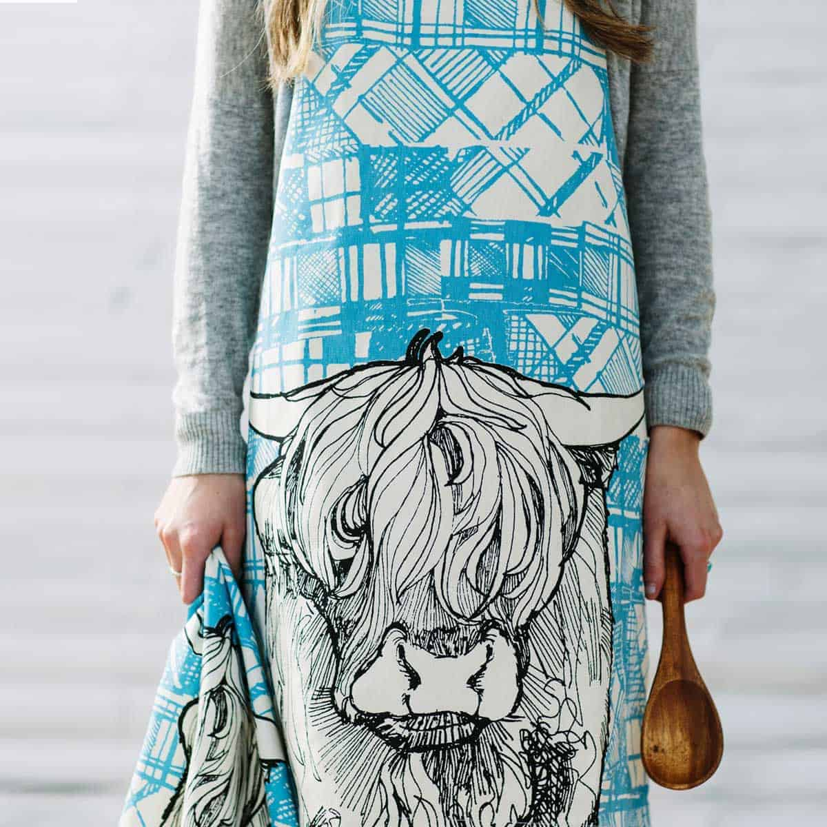 GillIan Kyle, Scottish Breakfast textiles, Scottish apron, tartan animals, highland cow print