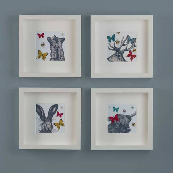 gillian kyle scottish art and prints butterflies and beasts collection butterflies and bees set of 4 prints, fox, stag, highland, cow, hare