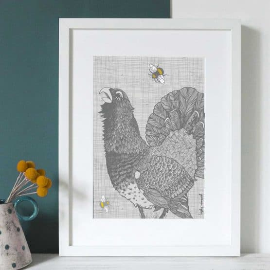 Gillian Kyle Scottish Art and Canvas prints Gallery, Scottish Wildlife Collection, Capercaillie Calling Print with Scottish capercaillie grouse