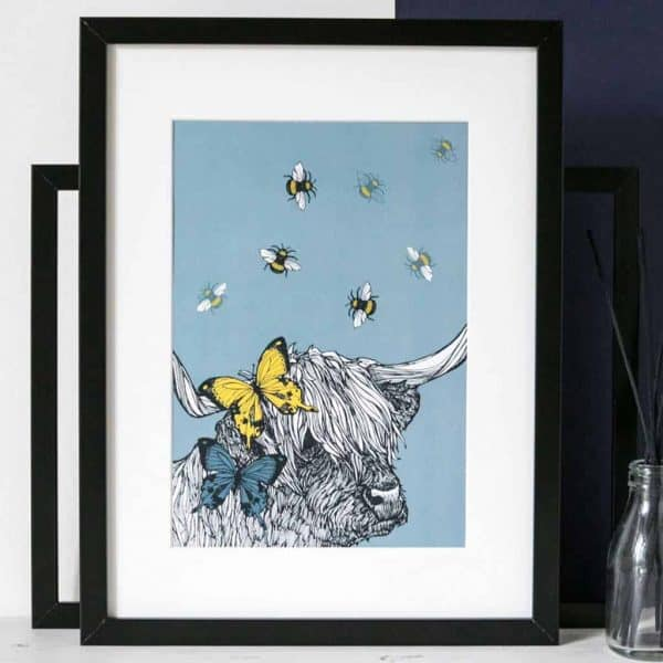 Gillian Kyle Scottish Art and Canvas prints Gallery, Scottish Wildlife Collection, Lola Print with Scottish Highland Cow, highland cattle