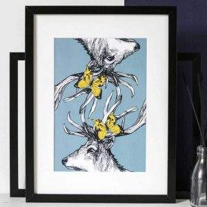 Gillian Kyle Scottish Art and Canvas prints Gallery, Scottish Wildlife Collection, Mr Stag's Reflection Print with Scottish Stag Deer and Butterflies