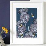 Gillian Kyle Scottish Art Canvas Prints Gallery, Scottish Thistles, Jaggy Thistles Print Indigo