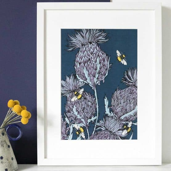 Gillian Kyle Scottish Art Canvas Prints Gallery, Scottish Thistles, Jaggy Thistles Print Indigo