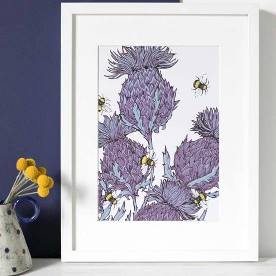 Gillian Kyle Scottish Art Canvas Prints Gallery, Scottish Thistles, Jaggy Thistles Print Lilac