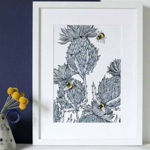 Gillian Kyle Scottish Art Canvas Prints Gallery, Scottish Thistles, Jaggy Thistles Print Silver