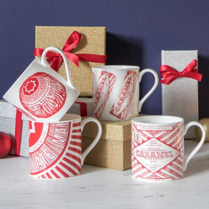 Gillian Kyle Scottish Mugs and cups, Tunnock's Range, Tunnock's Mug Collection with Tunnock's Teacake and Tunnock's Caramel Wafer