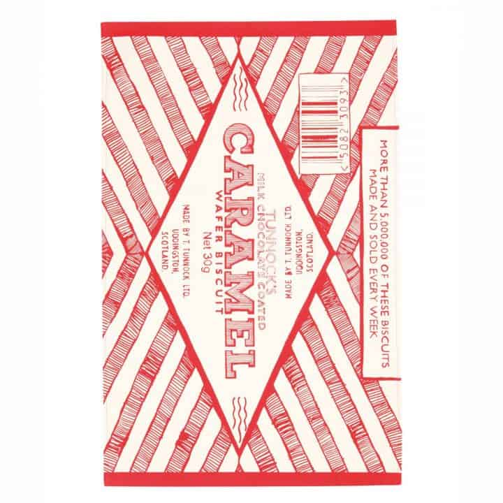 Gillian Kyle, Scottish breakfast textiles, Scottish tea towels, Scottish Tunnock's teacake, caramel wafer print
