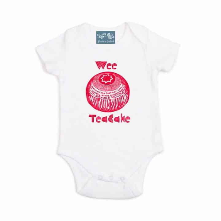 Gillian Kyle, Scottish baby clothing, Scottish baby gift, organic cotton, Scottish wee Tunnock's Teacake print