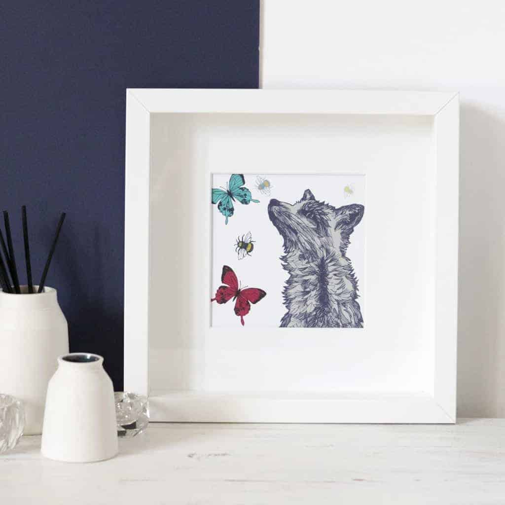 Fox print in frame by Gillian Kyle