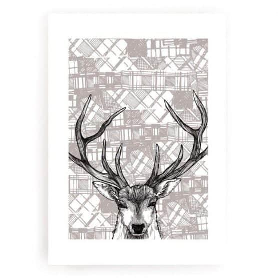 Modern Scottish Tartan Stag print by Gillian Kyle