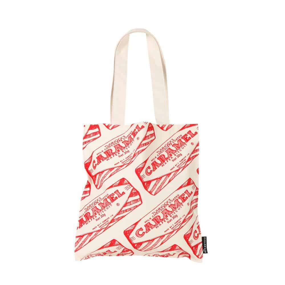 cotton canvas tote bag with Tunnock's Caramel Wafer design by Gillian Kyle