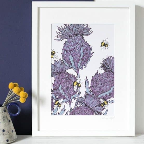 lilac thistle framed print any Gillian Kyle