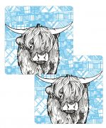 Highland Cow placemats with tartan background by Gillian Kyle