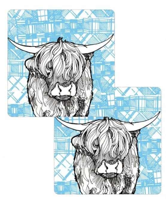 Gillian Kyle, Tartan Animals, Highland Coo tablemats with tartan background, Set of 2, Highland Cow