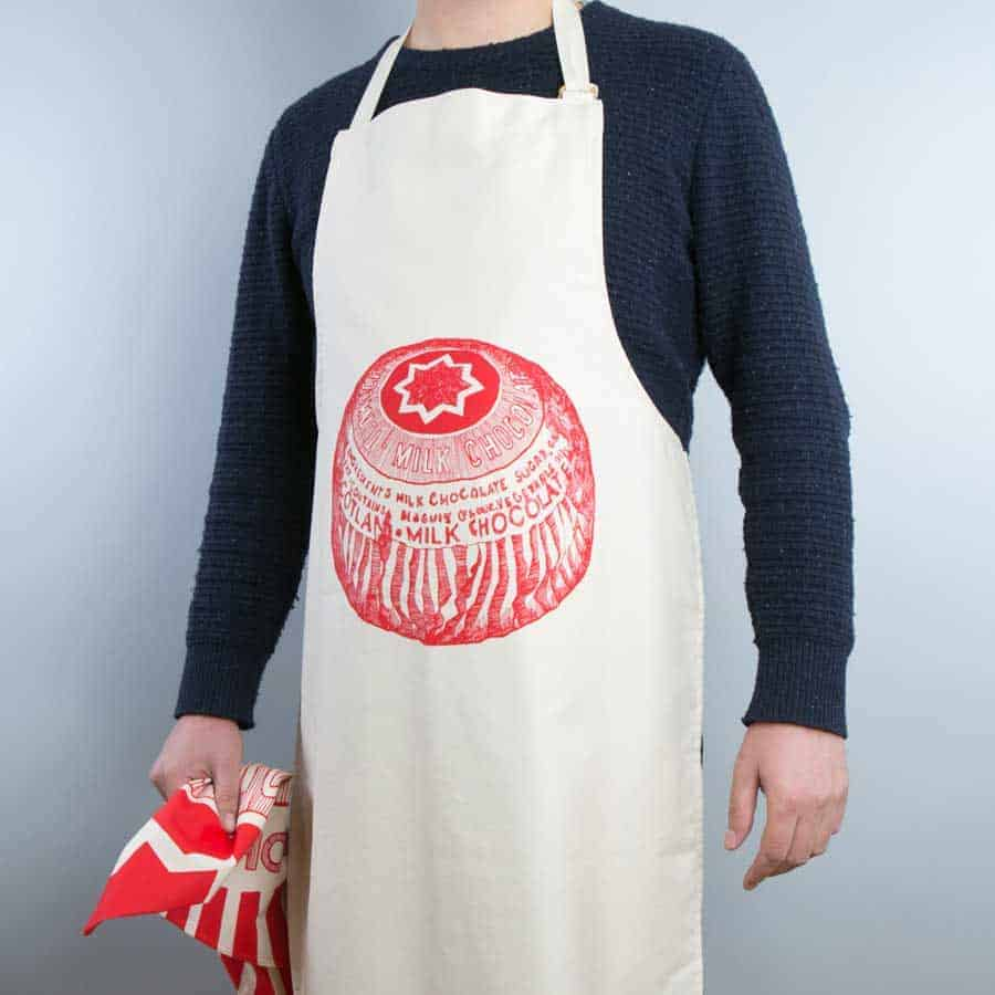 Gillian Kyle, Scottish kitchen textiles, scottish apron, Scottish Tunnock's teacake apron, Tunnock's teacake