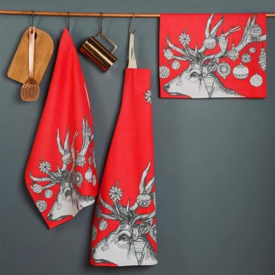 Gillian Kyle, Scottish apron, Scottish breakfast textiles, Scottish stag, red christmas print