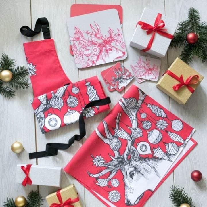 Gillian Kyle, Scottish Kitchen textiles, Scottish tea towel, Scottish stag range